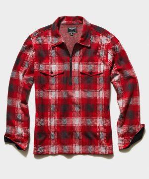 Plaid Quarter Zip Jacket in Red