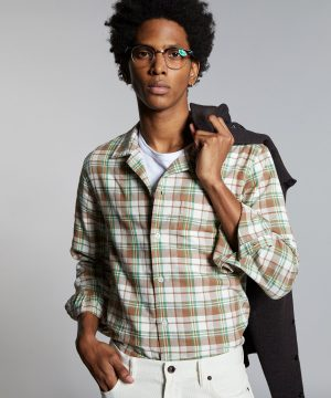 Portuguese Washed Flannel Camp Collar Shirt in Beige