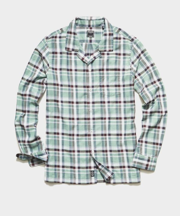 Portuguese Washed Flannel Camp Collar Shirt in Green