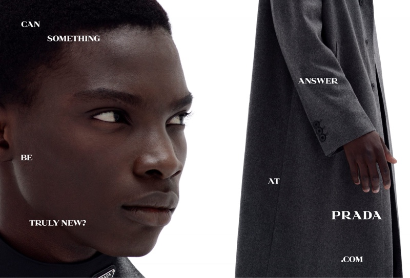 Lamine Niang appears in Prada's spring-summer 2021 men's campaign.