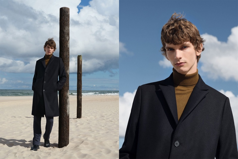 Erik Van Gils is a sleek vision in a wool coat, merino wool turtleneck, and organic cotton trousers from Reserved's Premium Sustainable collection.
