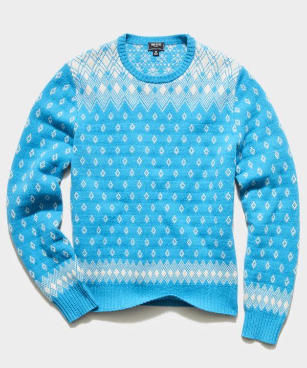 Retro Faire Isle Crew Sweater in Blue