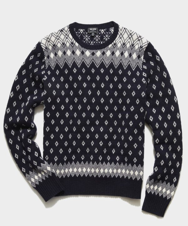 Retro Faire Isle Crew Sweater in Navy