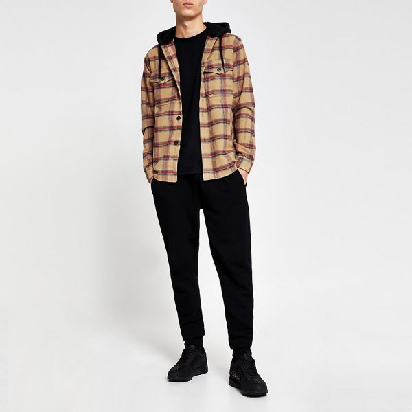 River Island Mens Beige check hooded long sleeve shacket
