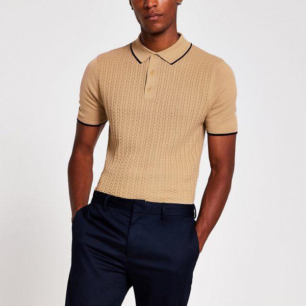 River Island Mens Beige textured slim fit polo shirt