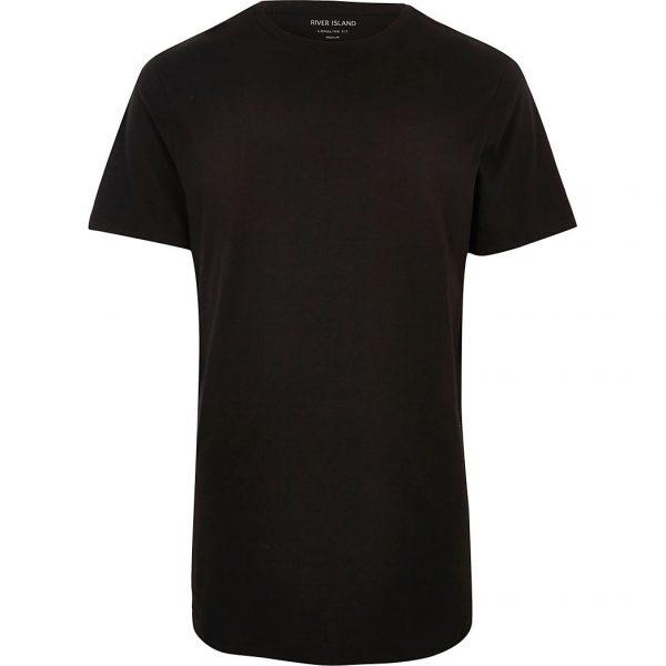 River Island Mens Big & Tall black curved hem longline t-shirt