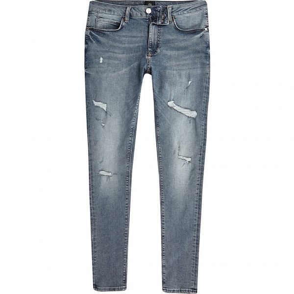 River Island Mens Big & Tall blue Ollie spray on ripped jeans