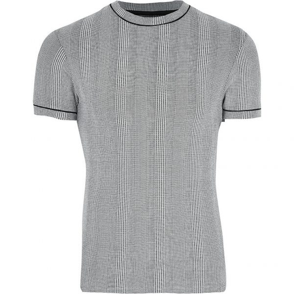 River Island Mens Big & Tall grey slim fit check t-shirt