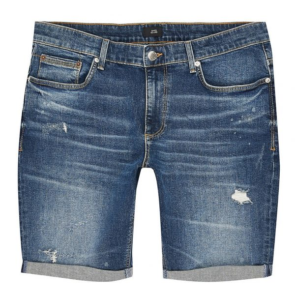River Island Mens Big and Tall blue ripped skinny fit shorts