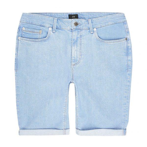 River Island Mens Big and Tall bright blue skinny fit shorts
