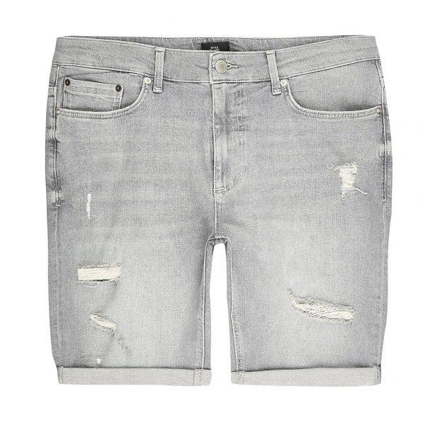 River Island Mens Big and Tall grey ripped skinny fit shorts