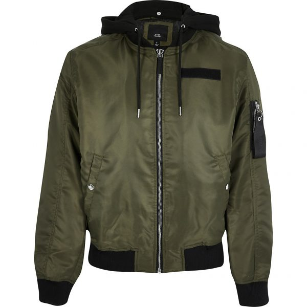 River Island Mens Big and Tall khaki hooded bomber jacket