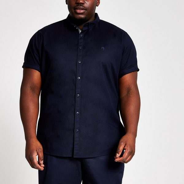River Island Mens Big and Tall navy slim fit Oxford shirt