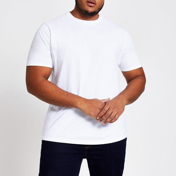River Island Mens Big and Tall white regular T-shirt