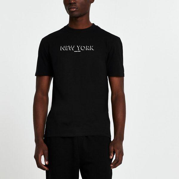 River Island Mens Black Maison Riviera Slim fit t-shirt