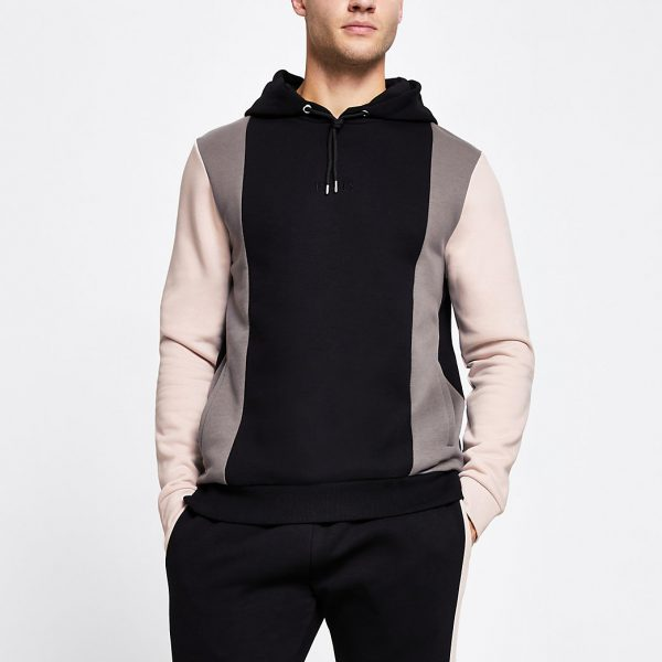 River Island Mens Black 'Paris' colour block slim fit hoodie
