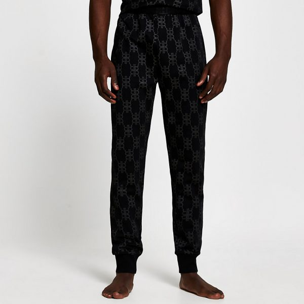 River Island Mens Black 'RR' monogram pyjama trousers