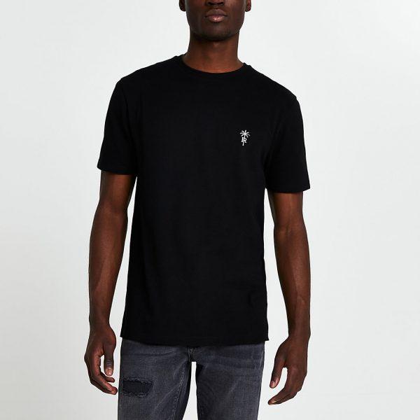 River Island Mens Black 'RR' palm trees logo slim fit t-shirt