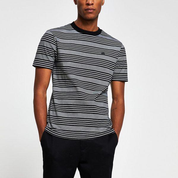River Island Mens Black 'RR' stripe slim fit t-shirt