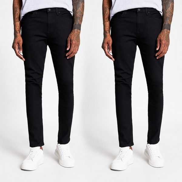 River Island Mens Black Sid skinny jeans 2 pack