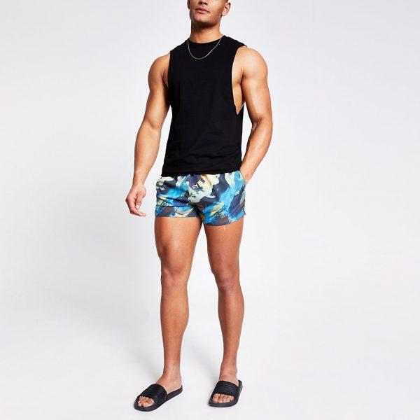 River Island Mens Black abstract printed swim shorts