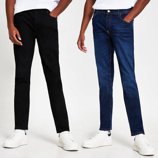 River Island Mens Black and blue Dylan slim denim jeans 2 pack