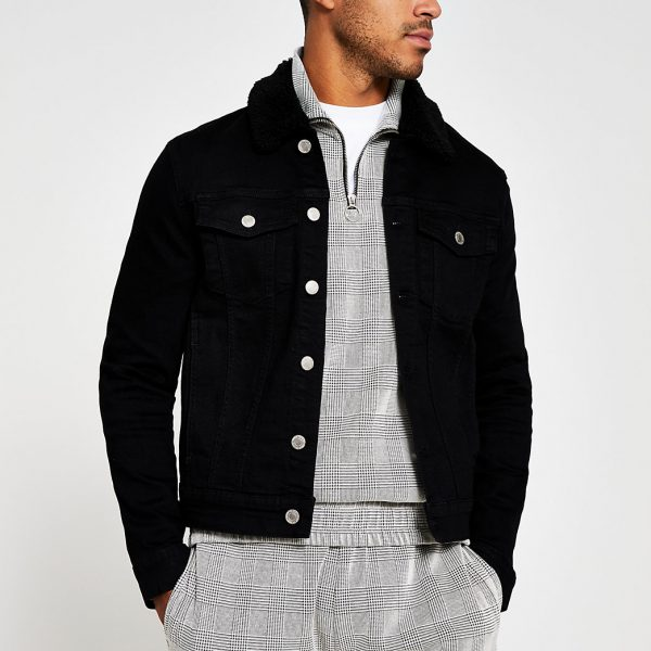 River Island Mens Black borg collar denim jacket