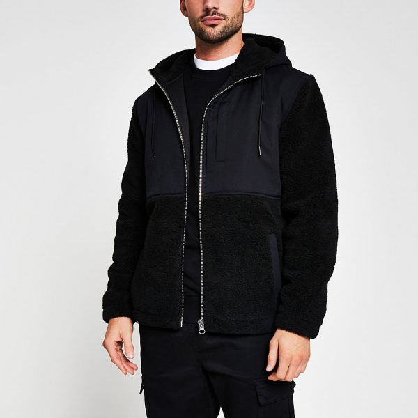 River Island Mens Black borg nylon hooded jacket