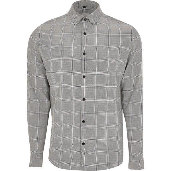 River Island Mens Black check muscle fit long sleeve shirt