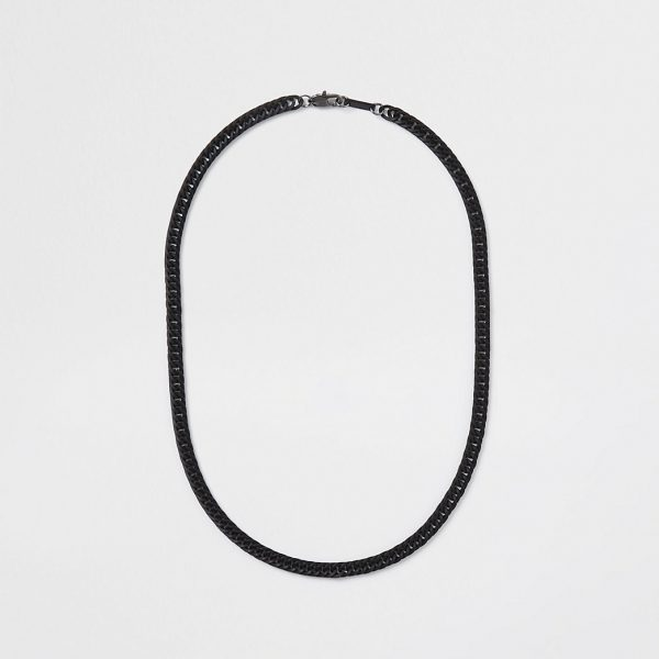 River Island Mens Black coated chain necklace