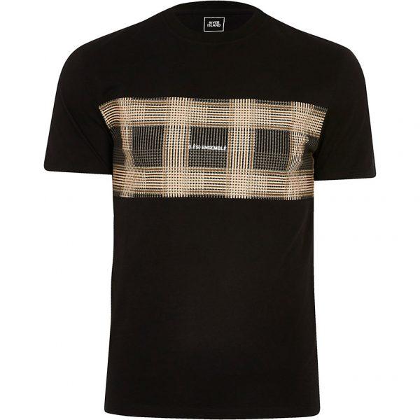 River Island Mens Black colour block check print t-shirt