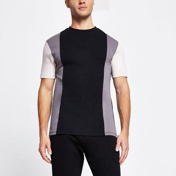 River Island Mens Black colour block slim short sleeve t-shirt
