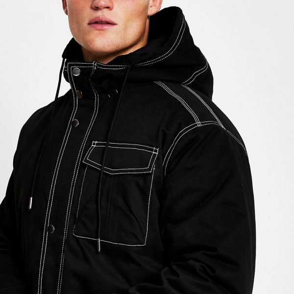 River Island Mens Black contrast stitch padded parka