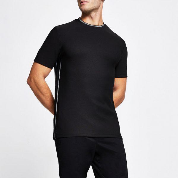 River Island Mens Black contrast stitch slim fit t-shirt