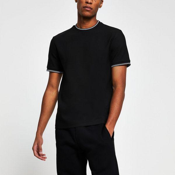 River Island Mens Black contrast trim slim fit t-shirt