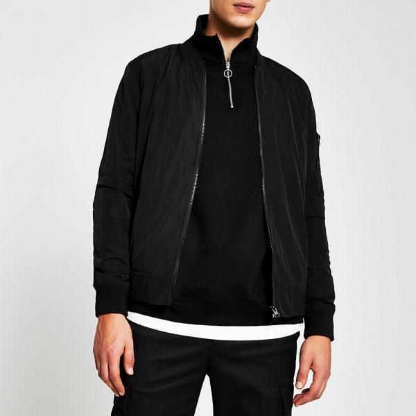 River Island Mens Black crinkle bomber jacket
