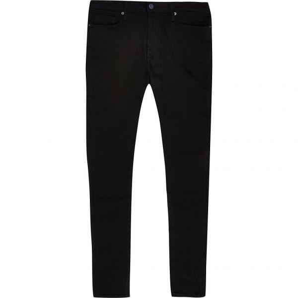 River Island Mens Black crow spray on skinny jeans