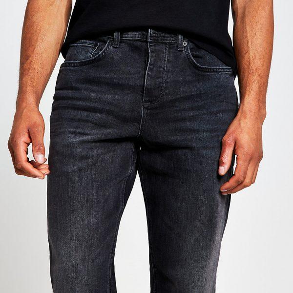 River Island Mens Black denim straight sorrento jeans