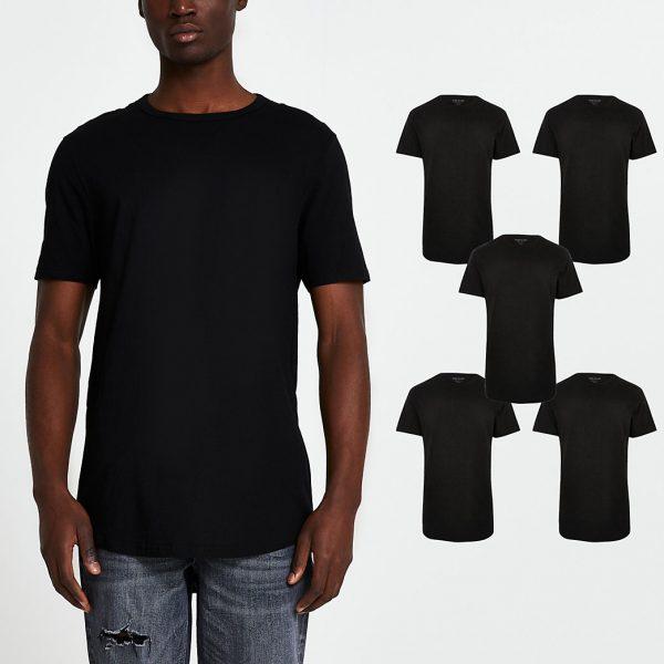 River Island Mens Black double curve hem t-shirt 5 pack