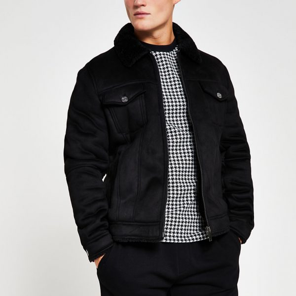 River Island Mens Black faux suede zip western jacket