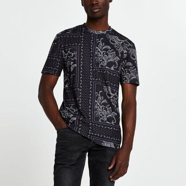 River Island Mens Black floral slim fit short sleeve t-shirt