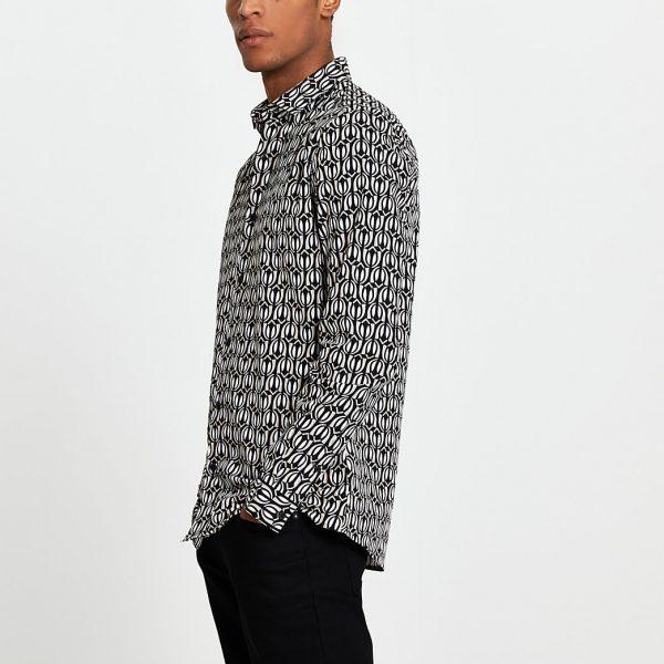 River Island Mens Black geo print long sleeve slim fit shirt