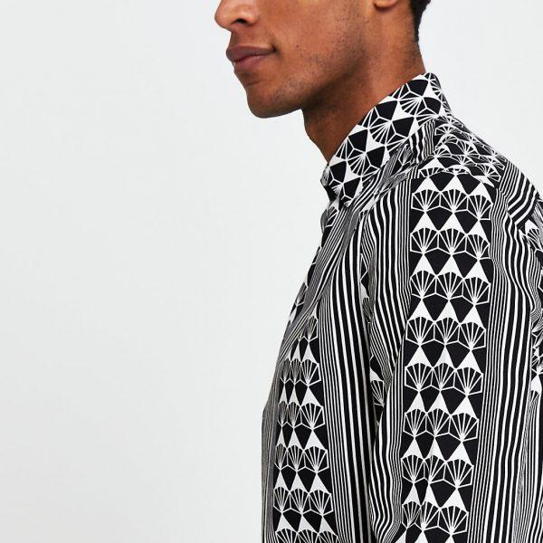 River Island Mens Black geometric long sleeve slim fit shirt