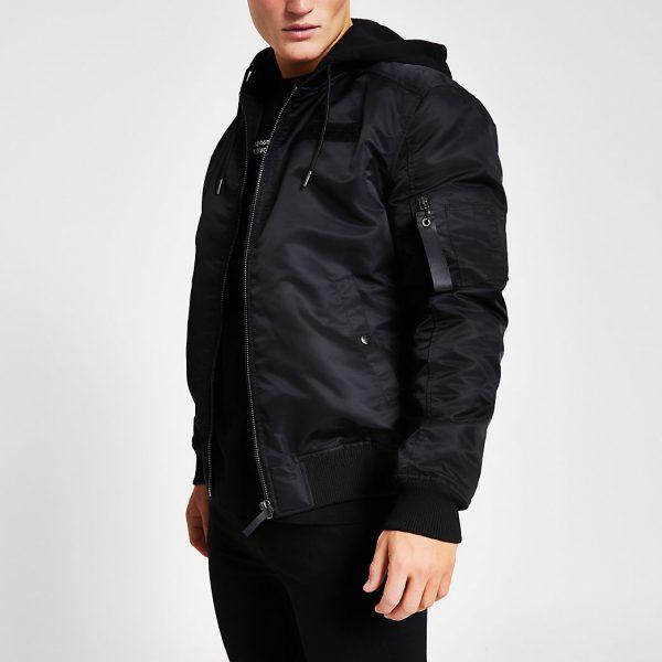 River Island Mens Black hooded MA1 bomber jacket