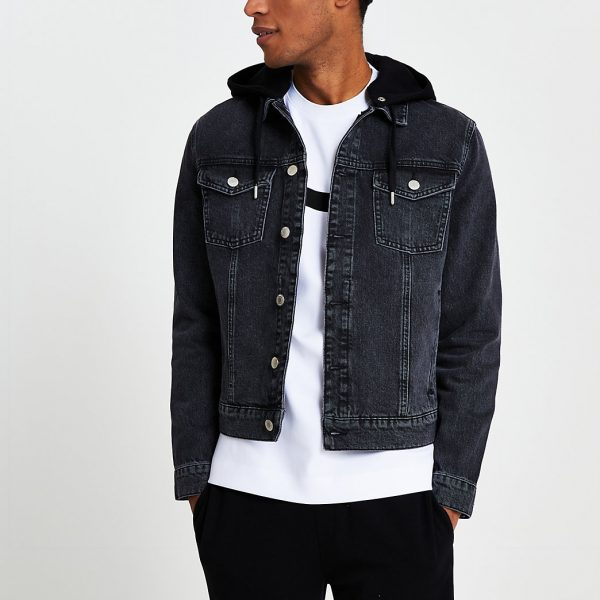 River Island Mens Black hooded denim jacket