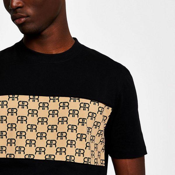 River Island Mens Black monogram block slim fit T-shirt