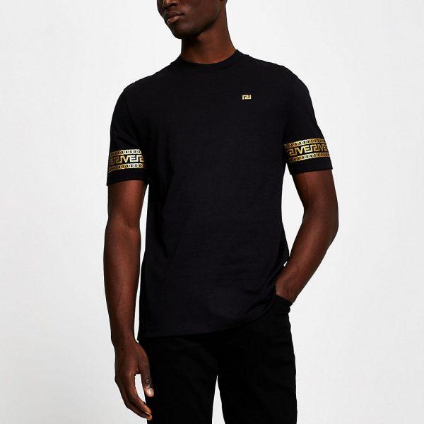 River Island Mens Black monogram sleeve slim fit T-shirt