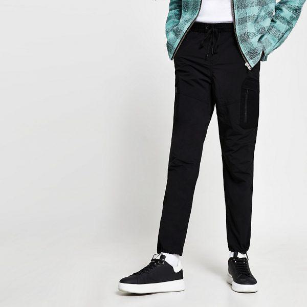 River Island Mens Black nylon zip detail trousers