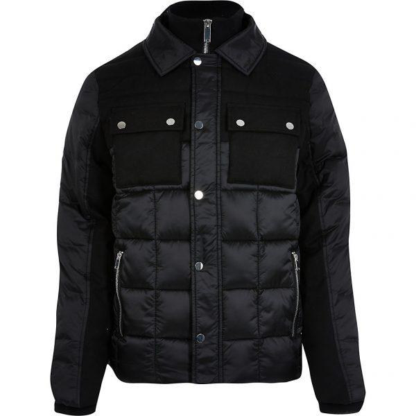 River Island Mens Black padded collar neck jacket