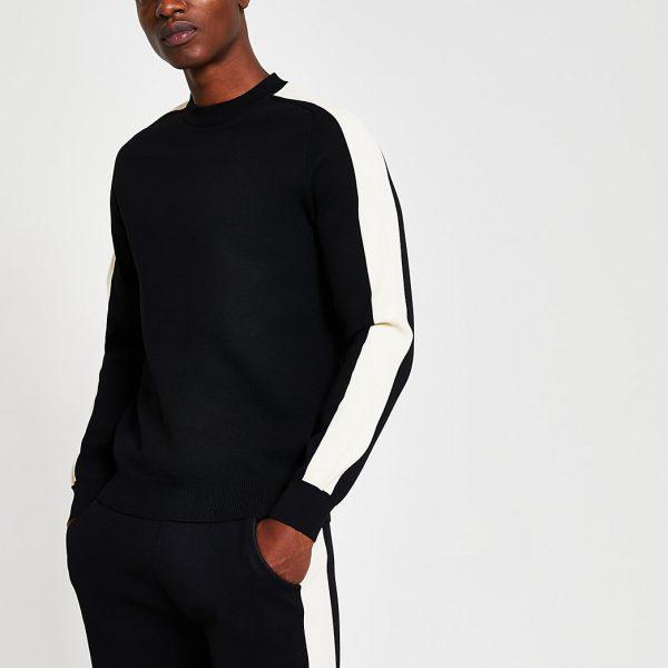 River Island Mens Black premium long sleeve sweatshirt